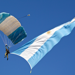 Independence Day,Argentina, July 9th by Venetia Featherstone-Witty - News & Events World Events ( paratrooper on parachute, argentina, flag, flag of argentina, national flag, public holiday, independence day, parachute,  )