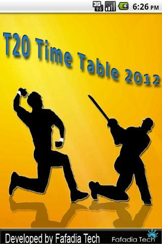 T20League TimeTable 2012