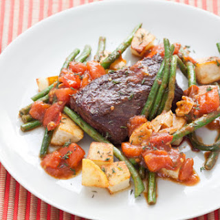 Hanger Steaks & Roasted Potatoes with Sautéed Long Beans & Tomato