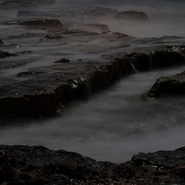 Clash by Bechara Chamat - Nature Up Close Rock & Stone ( water, white, sea, night, rocks, black )