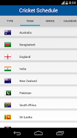Screenshot of Cricket Schedule