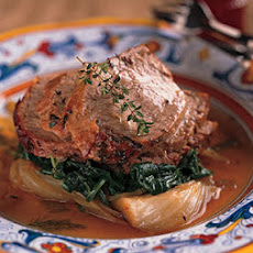 Veal Roasted with Shallots, Fennel and Vin Santo