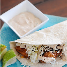 Beer Battered Fish Tacos w/ Baja Sauce