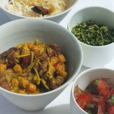 Spiced Lamb Curry with Chickpeas, Green Coconut Sambal and Tomato-and-Red-Onion Pickle