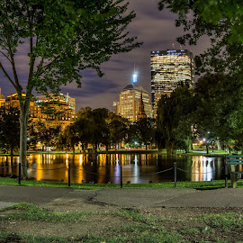 Boston Common by Ron Phillips - City,  Street & Park  City Parks ( night photography, boston, parks, long exposure, city )