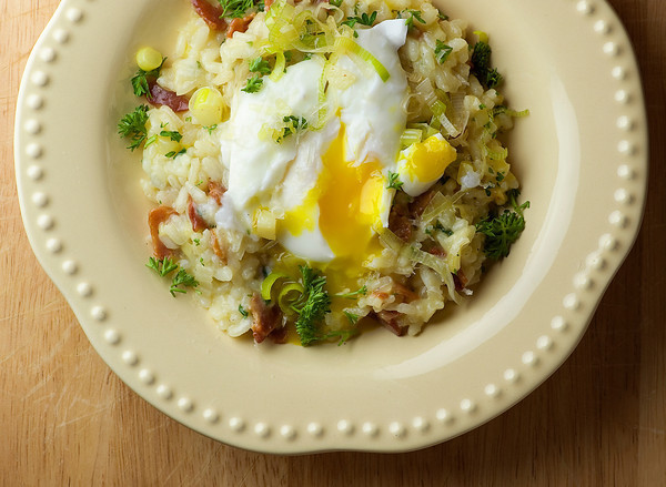 Bacon And Leek Risotto With Poached Egg Recipes — Dishmaps