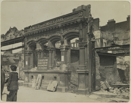 The ruins of 30 Lower Sackville Street, a branch of the Munster and Leinster Bank
