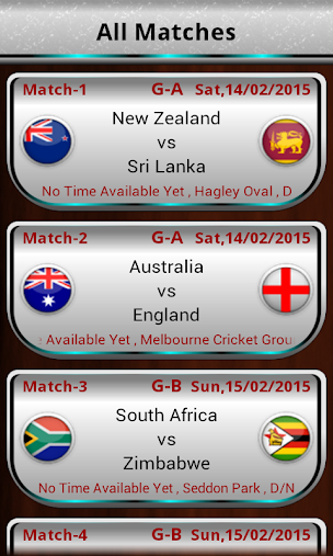 Cricket Cup 2015 Fixtures APK