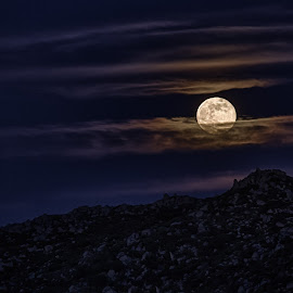 Super Moon by Christopher Payne - Landscapes Mountains & Hills ( super, moon, sky, mountain, bright, full, cloud, night,  )