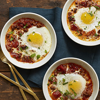 Baked Eggs with Merguez Sausage, Tomatoes, and Smoky Paprika