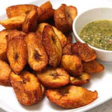 Maduros with Mint Mojo (Fried Ripe Plantains with Garlic and Mint Sauce)