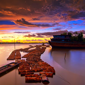 Sunset Rain by Eris Suhendra - Landscapes Sunsets & Sunrises ( clouds, blue sky, sky, indonesia, sunset, ship, factory, landscape, nikon, kalimantan, rain, river,  )