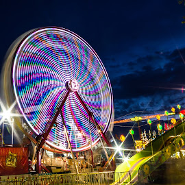 Pinwheel by Eric Porter - City,  Street & Park  Amusement Parks ( ride, idaho, lights, boise, amusement park, park, slow exposure, long exposure, night, state fair, fair, ferris wheel )