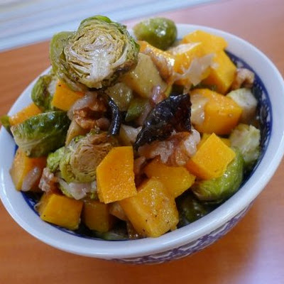 The Occasional Vegetarian's Roasted Brussels Sprouts, Butternut Squash, and Apple with Candied Walnuts