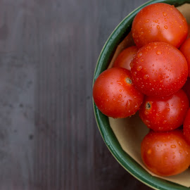 tomatoes  by Honza Francis - Food & Drink Fruits & Vegetables ( water, cherry, bowl, red, wood, food, rain drops, tomatoes )