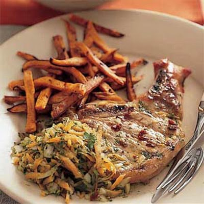 Chipotle-Marinated Pork Chops with Chimichurri Sauce