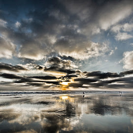 Blue Goodbye by Kam Minatrea - Landscapes Beaches ( clouds, reflection, sunset, ocean, beach )