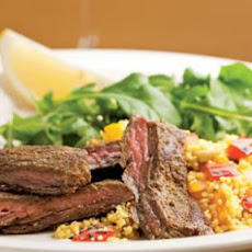 Moroccan Skirt Steak with Roasted Pepper Couscous