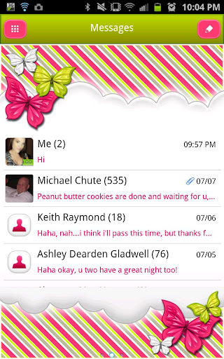GO SMS - Butterfly Lime Sky