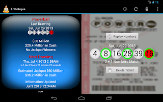 Screenshot of Lottery Results Ticket Checker