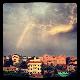 by Heena Shah - Instagram & Mobile iPhone ( ab5, manipal, manipalinstituteoftechnology, india, college, rainbow, clouds, beautiful, pretty )