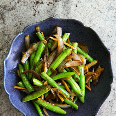 Stir Fried Green Beans with Ginger and Onions