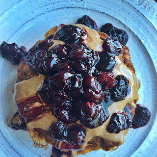Pumpkin Oatmeal Pancakes with a Ginger Cherry Compote