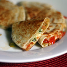 Squash Blossom Quesadillas with Bacon and Tomatoes