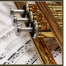 Trumpet and Music by Deidre Elzer-Lento - Artistic Objects Musical Instruments ( music, trumpet, instrument, brass, closeup )