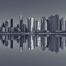 Marina in Reflection by Bryan Bryx Vargas - Buildings & Architecture Office Buildings & Hotels ( mirror, reflection, building, buildings, sea, cityscape, seascape, architecture, marina, city )