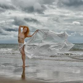 Rhiannon by John McNairn - Nudes & Boudoir Artistic Nude ( clouds, scotland, nude, beach, storm )