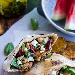 Greek Olive Pesto and Fried Zucchini Grilled Pitas w/Marinated Feta + Garbanzo Beans.