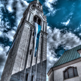 Church Tower  by Rinaldo Luin - Buildings & Architecture Public & Historical ( cortina d'ampezzo, hdr, church tower, architecture, italy )