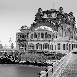 Casino by Adrian Ioan Ciulea - Buildings & Architecture Public & Historical ( water, seafront, building, black and white, waterscape, sea, seascape, seaside, old building, pier, casino, long exposure, abandoned )