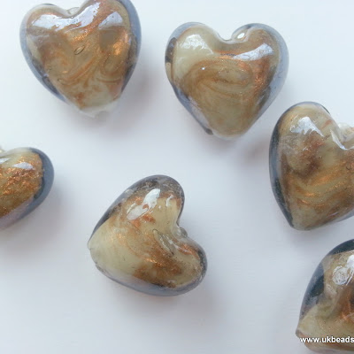 Lampwork Heart Beads In Brown And Gold  x8
