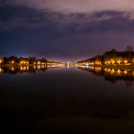 Rowing base Plovdiv by Valentina Kalinska - Landscapes Travel ( water, plovdiv, lights, rowing, base )