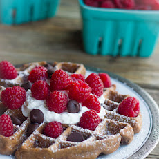 Chocolate Waffles With Fresh Raspberries