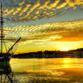 Dunbrody Famine Ship by Joe Ormonde - Transportation Boats ( transport, sunset, ship, reflections, dunbrody, river )