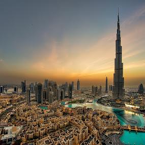 Downtown Dubai Sunset by Andrew Madali - Buildings & Architecture Office Buildings & Hotels ( dubai, sunset, uae, burj khalifa, golden hour )