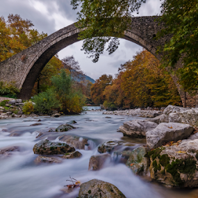 Stone Bridge in Portaikos river by George Papapostolou - Landscapes Waterscapes ( portaikos river, george papapostolou, pyli, autumn, thessaly, greece, trikala, stone bridge, travel, nikon, bridge,  )