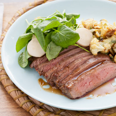Flank Steak au Jus with Roasted Dijon Cauliflower, Pickled Baby Turnips & Watercress
