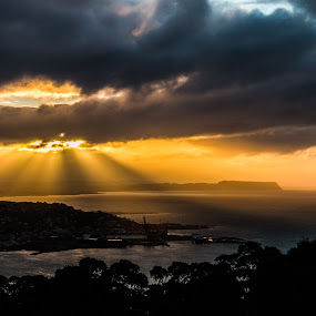 Burnie Shines. by Robert Stanley - Landscapes Sunsets & Sunrises ( light rays, round hill lookout, tasmania, sun beams, emu bay, sun rays, burnie,  )