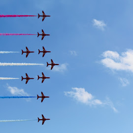 Red arrows by Mario Borg - Transportation Airplanes ( red arrows, raf, aircrafts, flight pass )