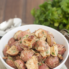 Roasted Potato Salad with Honey Mustard Dressing and Bacon