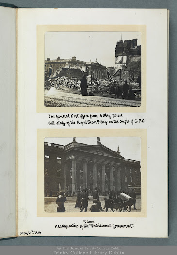 <b>A Relic of the Rising</b>  In the weeks following the Rising the antiquarian and archaeologist Thomas Johnson Westropp took a sequence of 44 photographs of the affected buildings  and streets of central Dublin. He shot most of these photographs between the 17th and 18th May 1916, with some additional ones taken in July of the same year. He developed, printed and mounted the photographs into four separate, although similar, albums and three of these were gifted to the following prominent archival institutions: Trinity College Dublin, the Royal Irish Academy and the National Library of Ireland. A fourth set of photographs is held by the Irish Architectural Archive. This exhibition examines the 44 images included in Trinity's album, the most extensive of the four albums (TCD MS 5870).