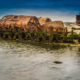 Garden City Ferry - Retired 1929 by Mark Franks - Artistic Objects Industrial Objects ( remains, low tide, artistic object, ocean, boiler, rusty, boat, river, abandoned )