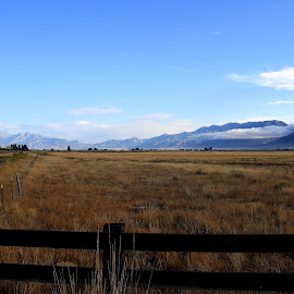 Wide Open by Mark  R.  Worden - Landscapes Prairies, Meadows & Fields ( idaho, mountains, sky, wide open spaces, fields )