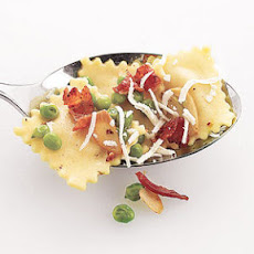 Ravioli With Peas and Crispy Bacon