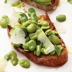 Fava Bean, Mint, and Pecorino Romano Bruschetta