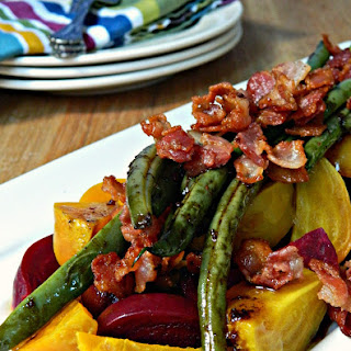 Warm Beet Salad with Green Beans & Bacon